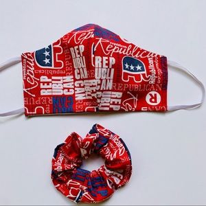Republican print face mask with scrunchie